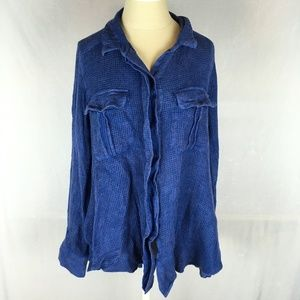 Free People One of the guys button down top blue